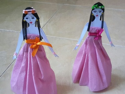 How to make paper doll with tissue paper dress
