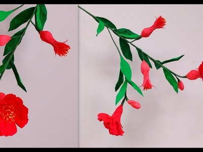 How to make Paper Flowers pomegranate \ Punica granatum ( flower # 181)