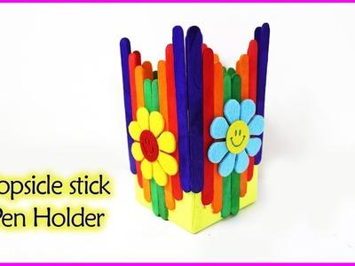 How to make pen holder | Popsicle stick crafts - pen stand, flower vase, pen stand