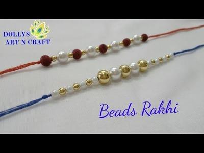 How to make rakhi at home | DIY Rakhi - Beads Rakhi bracelet - 2 ways