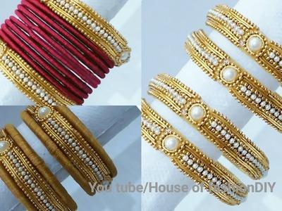 How To Make Silk thread Bangles Using Ball Chain&Zardosi At Home.
