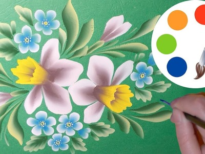 How to paint a bouquet with Narcissuses, One Stroke, irishkalia