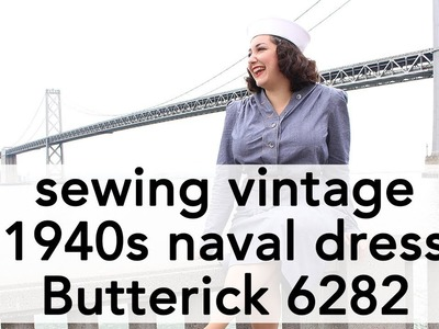 How to Sew 1940s Navy Dress, Butterick 6282 | Vintage on Tap