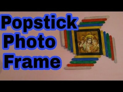 Photo frame | how to make Popsicle stick hanging photo frame | Ice cream stick photo frame| HMA##048
