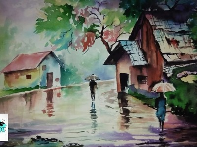 Rainy season drawing with Watercolor | how to draw scenery of rainy season step by step | Landscape