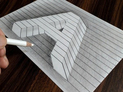 Trick Art Drawing on Line Paper - How to Draw Letter A in 3D