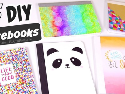 5 DIY NOTEBOOK IDEAS for Back-To-School 2017. How To Make School Supplies. SoCraftastic