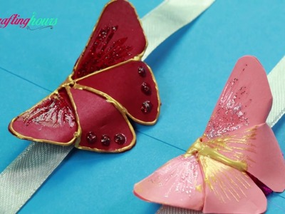 Beautiful Butterfly Rakhi Making Idea with Paper Origami, How to Make Rakhi at Home