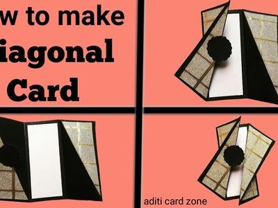 Diagonal Fold Card Tutorial | How to make Diagonal Card | Friendship day card | Friendship day 2017
