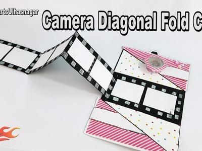 DIY Camera Diagonal Fold Card   Card for Scrapbook Pages   JK Arts 1245