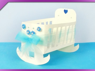 DIY How to make paper cradle, 3D baptism card (ENG Subtitles) - Speed up #386