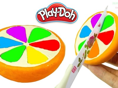 DIY How to Make Play Doh Cake Colorful Orange - Learn colors for Kids