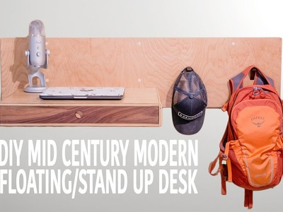 DIY Modern Standing. Floating Desk (Woodworking How To)
