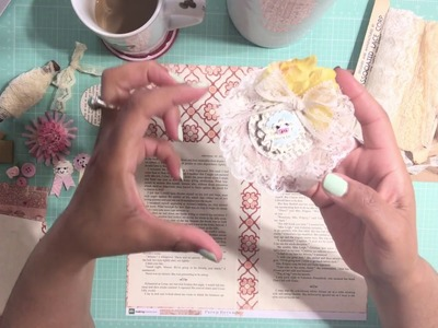 DIY - Old Book Pages & Lace -Trim Ruffled Circle Embellishments - For Scrapbook or Junk Journal