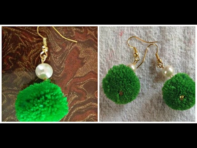 DIY Simple pom pom earrings I How to make pom pom earrings at home