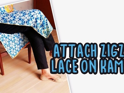 How to attach lace on slits of kurti