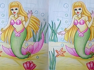 How to Draw and Coloring a Mermaid for Children - Step by Step in Easy Method | Learn Drawing