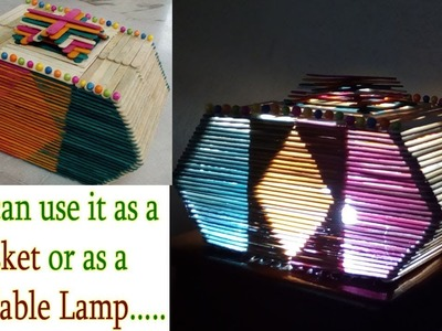 How to make a Unique Style Popsicle Lamp || Popsicle Stick Lamp Shade || Ice Cream Stick Table Lamp