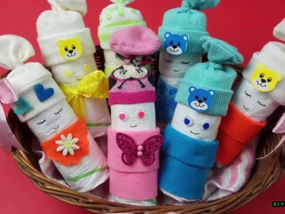 """How to Make an Adorable """"Diaper Baby"""" Basket - Baby Shower Gift Idea"""