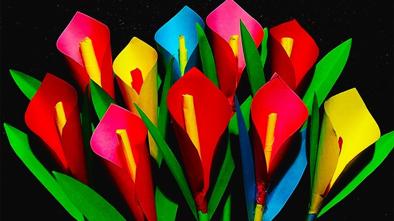 How To Make An Origami Flower Calla Lily Easy Paper Flowers