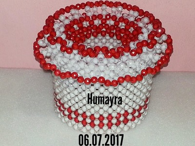 How to make beaded round tissue box