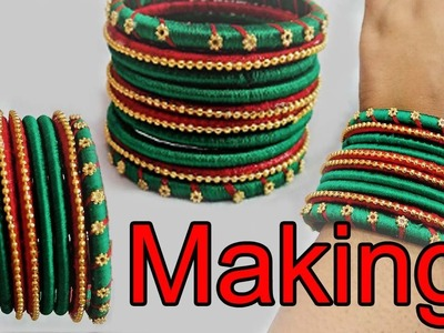 How to Make beautiful dark green silk thread bangle at home | DIY latest Bangle designs