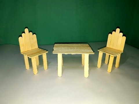 How to make chair and table with popsicle stick.couple dining table making with ice cream stick