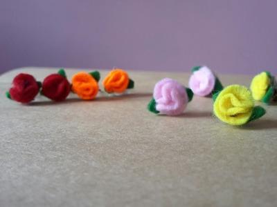 How to make felt paper flower earrings easily