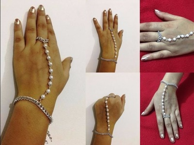 How to make hand and ring chain pearl bracelet at home | Creative Things