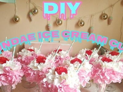 How To Make Ice Cream Sundae Centerpiece DIY Birthday Decor! Ice Cream Theme.