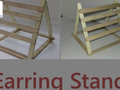 How To Make || IceCream Stick Earring Stand || CCA