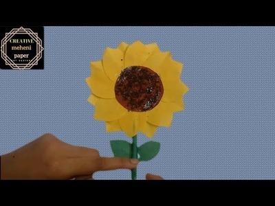 How to make paper sunflower step by step - (surjo mukhi)