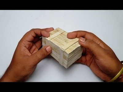 How to Make Puzzle Box With Ice Cream.Popsicle Stick Diy (Secret Compartment Box)