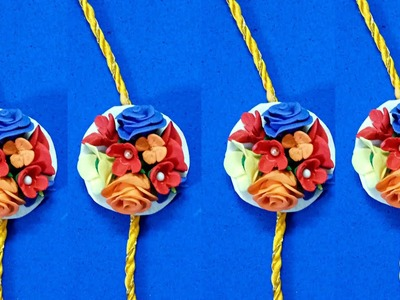 How to Make Rakhi With Clay Flowers - 3