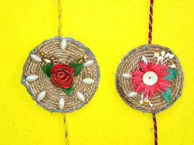 How to Make Rakhi With Paper flowers and Jute - 2