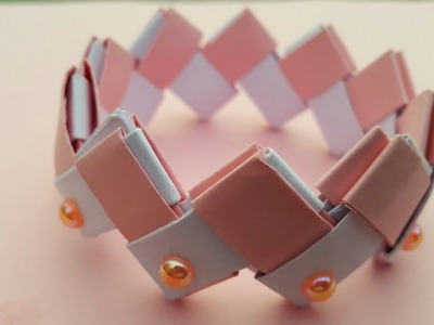How to make simple paper bracelet for kids.