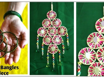 How to make wall Hanging using used bangles and silk macrame thread. Wall piece from waste bangles