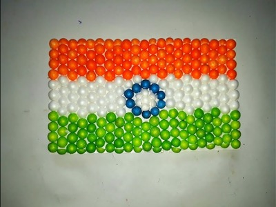 Indian flag making with thermocol balls. Indian flag art. how to make indian flag. indian flag art.