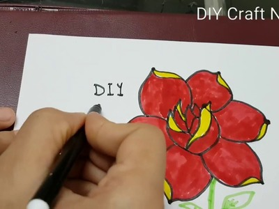 Learn How to draw and color a Rose 1