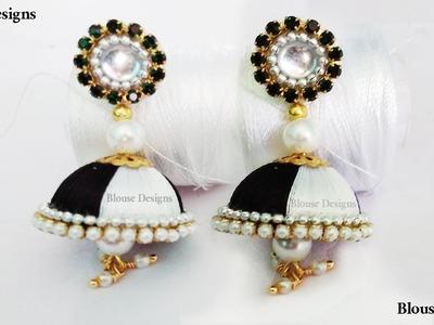 Silk thread earrings | silk thread jewellery making | How to make earrings