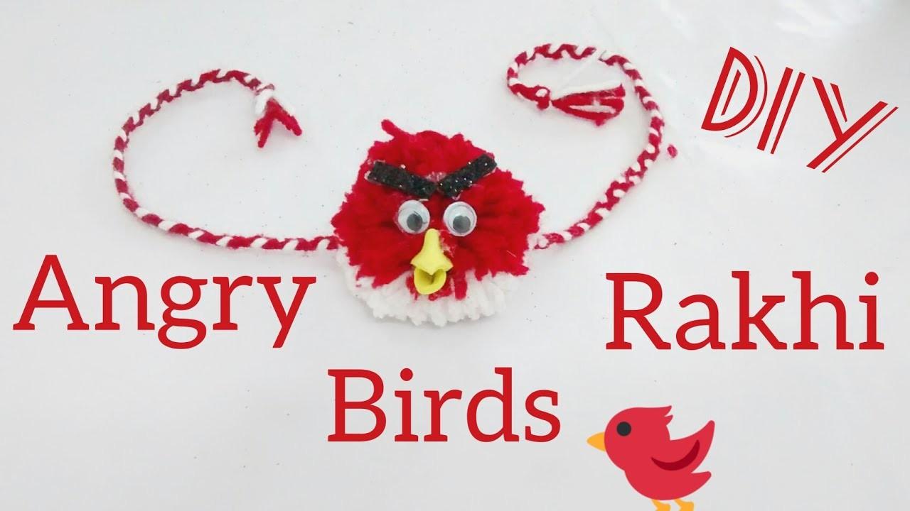 DIY Angry Birds KIDS Rakhi – How To Make Angry Birds kids rakhi with Pom-pom (ENGLISH SUBTITLE)