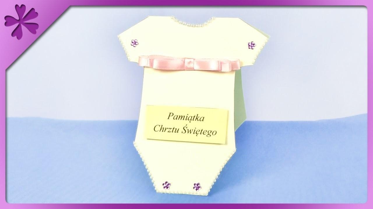 DIY How to make baby bodysuit baptism card (ENG Subtitles) - Speed up #385