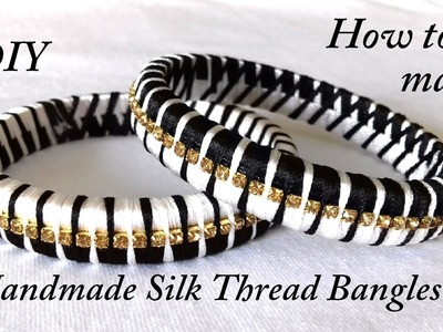 DIY || how to make designer silk thread bangles at home || black and white silk thread bangles