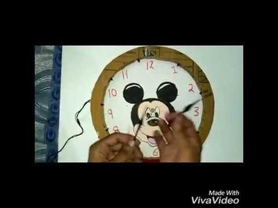 DIY How to make home made LED wall clock  with cardboard.  step by step
