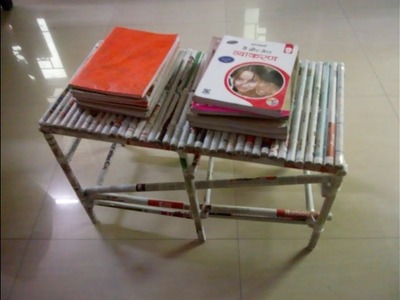 DIY: Make yourself center table.teapoy.books stand with news paper rolls - useful craft