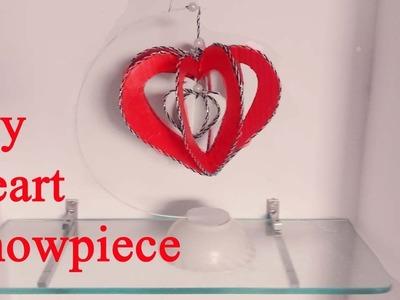DIY paper heart showpiece || How to make paper heart showpiece