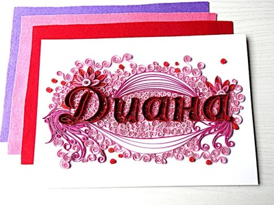 DIY Paper Quilling Name, Wall Decor,  How to Decorate Monogram