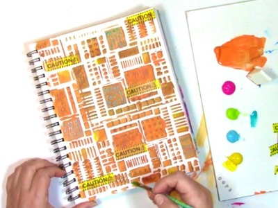 How I use a small stencil to fill an entire art journal page