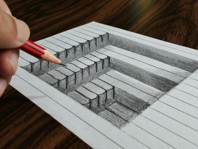 How to Draw 3D Steps in Line Paper - Trick Art