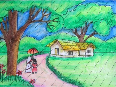 How to draw a rainy season step by step by Indrajit Art School